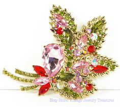 New Pink & Green Rhinestone Pin $24.99
