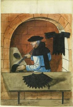 Crafts and trades, Germany Making mail. Well, somebody had to do it. Medieval Market, Medieval Life, Medieval Armor, Medieval Crafts, European Paintings, Medieval Paintings, Landsknecht, Book Of Hours, Illuminated Manuscript