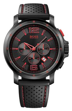 BOSS Black Rubber Strap Round Watch available at #Nordstrom