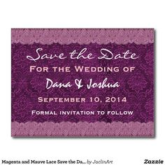 #Magenta #Mauve #Lace #SavetheDate #Wedding #Postcard http://www.zazzle.com/magenta_and_mauve_lace_save_the_date_wedding_v030_postcard-239831408274322657