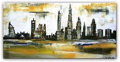 Dubai Skyline Original Stadt Bilder Gemälde Acrylbild Malerei 50x100