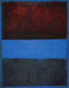 "Exam 4: Mark Rothko, No. 61, Brown, Blue, Brown on Blue. Wanted color to be a spiritual experience. His paintings evoke a tragic mystery of our perishable condition. uses layered color to enrich the hues in the painting and to lend it a quality that the artist described as that of ""inner light."""