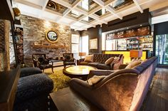 This lounge space is so open, but somehow it almost has a woodsy cabin vibe.