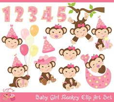 Baby Girl Monkey Clip Art Set by 1EverythingNice on Etsy