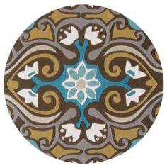Image of Harlequin HA10 001 Scroll Brown Blue Circle rug