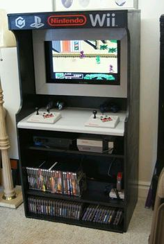 Man Cave Home arcade. You have to have a arcade games system in the Man cave. Arcade {Video Game} Center I love creative set ups for game rooms. This is pretty awesome. Nerd Room, Gamer Room, Console Arcade, Diy Arcade Cabinet, Deco Gamer, Video Game Rooms, Video Games, Video Game Bedroom, Arcade Room