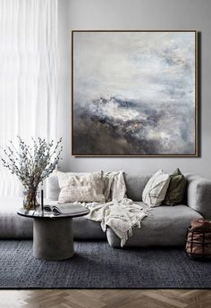 Large Original Wall Art, Abstract Cloud Painting,Sky Wall Art,Black White Painting,Grey Painting On - Best Painting Ideas For Beginners Large Canvas Art, Wall Canvas, Diy Canvas, Black And White Painting, Black White And Grey Living Room, Mountain Paintings, Sky Art, Living Room Paint, Canvas For Living Room