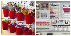 Pinterest + art studio organization ideas | Found on vintagepagedesigns.com