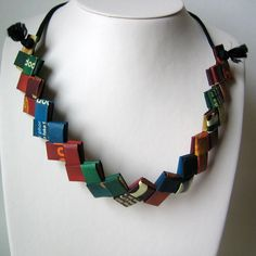 Eco Necklace - Reclaimed Snack Wrappers - Earth Tones, $39