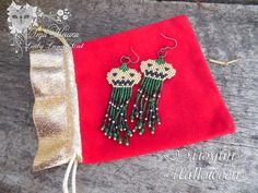 "Bead earrings ""Halloween"" by  Lady Lunar Cat. Japanese seed beads. Length 7 cm. Price please inquire.  Серьги из бисера ""Хэллоуин"" от Леди Кошки (Lady Lunar Cat). Японский бисер. Длина 7 см. Цену спрашивайте. beads, brick, peyote, earrings, beadwork, handmade, Lady Lunar Cat, green, gold, pumpkin, halloween"