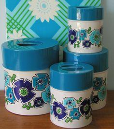 Vintage Blue Floral Cannisters