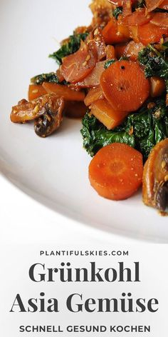 Ginger tamari vegetables with kale - Fast kale Asia vegetables. Cook healthy quickly. Kale v - Tuna Recipes, Kale Recipes, Pork Chop Recipes, Cooking Recipes, Vegetarian Sweets, Vegan Sweets, Vegetarian Recipes, Vegan Vegetarian, Healthy Summer Recipes