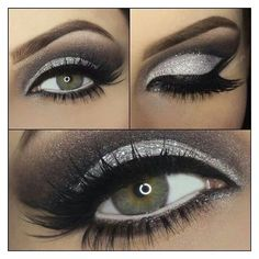 Smokey Eye Makeup Black And Silver - Makeup Vidalondon ❤ liked on Polyvore featuring beauty products, makeup and eye makeup