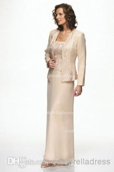 2014 Champagne Spaghetti Straps Sheath Hot Mother Of The Bride Dresses With jacket Long Sleeves Summer Beach Prom Dress Evening Gowns CPS030