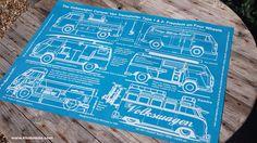 VW Art Blueprint Poster design & Canvas Prints. Type 1 & 2 - Freedom on Four Wheels - Vintage Volkswagen Camper Van Bay and splitscreen surf bus wall art design by Kludo White & The Kludoman Surf Co. www.kludoman.com