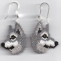 Grey Wolf Earrings by Edithscustomcrafts on Etsy, $15.99