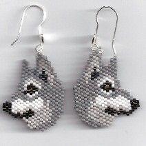 Grey Wolf Earrings by Edithscustomcrafts on Etsy, $15.99