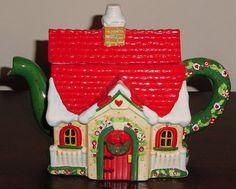 Mary Engelbreit Christmas House Teapot Bright Cheerful   eBay