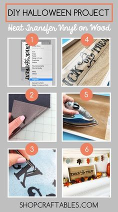 How to Apply Heat Transfer Vinyl to Wood, Diy And Crafts, In 30 minutes you will learn how to make your own beautiful DIY Halloween signs with heat transfer vinyl on wood. It is so easy. Check out the step by. Preschool Crafts, Fun Crafts, Crafts For Kids, Paper Crafts, Vinyl Crafts, Diy Craft Projects, Vinyl Projects, Pallet Projects, Project Ideas