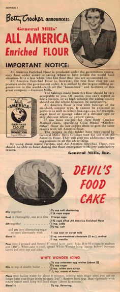 Devil's Food Cake with White Wonder Icing - Another Vintage Betty Crocker Recipe Sheet 1 Retro Recipes, Old Recipes, Vintage Recipes, Cookbook Recipes, Sweet Recipes, Family Recipes, Recipies, Chocolate Frosting Recipes, Betty Crocker Chocolate Cake Recipe
