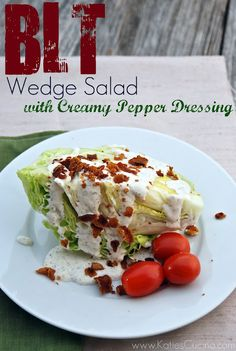 BLT Wedge Salad with Creamy Pepper Dressing via McCormick Spice Pin-spiration Salad Dressing Recipes, Salad Recipes, Salad Dressings, Creamy Salad Dressing, Low Carb Recipes, Cooking Recipes, Healthy Recipes, Yummy Recipes, Vegetarian Recipes