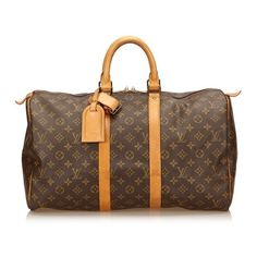 Vintage Louis Vuitton Monogram Keepall 45 ($751) ❤ liked on Polyvore featuring bags, luggage, brown and luggage & travel