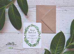 Greenery wedding invitation / greenery esküvői meghívó Greenery, Wedding Invitations, Wedding Invitation Cards, Wedding Invitation, Wedding Announcements, Wedding Invitation Design