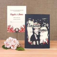 She said YES Intricate Laser Cut Wedding Invitation & by Cartalia