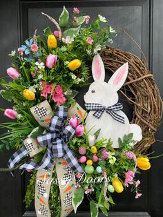 Spring Easter Bunny Wreath with Buffalo Check and Burlap Ribbon. The ribbon has a black and white gingham bunny silhouette and carrots. The wreath has tulips in yellow, pink and white and Easter eggs. Easter Bunny Decorations, Easter Wreaths, Spring Wreaths, Easter Decor, Easter Crafts, Holiday Crafts, Wreath Crafts, Wreath Ideas, Swag Ideas