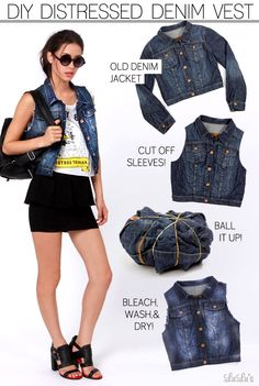 DIY: How to Make a Denim Vest 1. Take the denim jacket and cut the sleeves off directly at the seems of the shoulder to create the rigid vest look. I prefer to leave the denim frayed after the sleeves have been cut for a true look of cut denim.  2. Although this look is already perfect