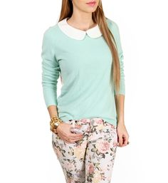 Mint/White Peter Pan Collar Top <3 <3 I WANT this. At Windsor <3