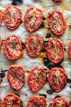 slow roasted tomatoes with olive oil, thyme and oregano