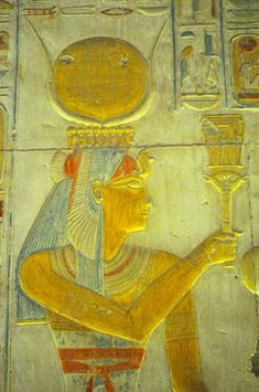 The Sacred and Magical Sistrum of Ancient Egypt.  The Goddess Isis playing the naos sistrum of Hathor. Link to article