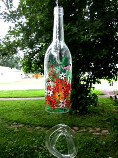 Wind Chime Recycled Clear Wine Bottle Hand Painted Shades of Orange Garden Flowers