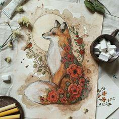 "sosuperawesome: ""Tatiana Boiko, on Etsy "" Art Drawings Sketches, Animal Drawings, Cool Drawings, Fuchs Tattoo, Fox Tattoo Design, Illustrations, Illustration Art, Desenho Tattoo, Fox Art"