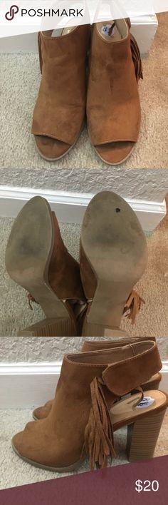 Report Peep Toe Fringe Booties Report Peep Toe Fringe Booties Report Shoes