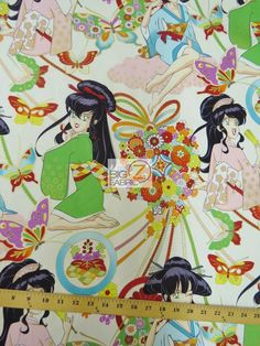 100% #Cotton Fabric By #AlexanderHenry / #Asian Miss Butterfly Natural / Sold By The Yard