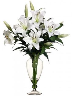 "White Stargazer Lily Large Silk Flower Design ARWF3398. This extraordinary arrangement contains large silk Lilies. It would be a great center piece. 30""Hx18""Wx18""L"