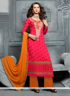 An superb hot pink georgette designer pakistani suit will make you appear too stylish and graceful. The desirable embroidered, lace and resham work a intensive element of this attire. Comes with match...