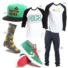 1. Hustle Trees Hat Snapback Hat by LRG 2. Fly High Raglan by Fly Society 3. Rasta Raglan by Enjoi 4. 510 Super Skinny Stretch Jeans by Levi's 5. Watts Skateboarding Sneakers by Converse 6. Plantlife Crew Socks by HUF