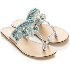 Monsoon Imola Sandal ($50) ❤ liked on Polyvore featuring shoes, sandals, flats, zapatos, silver, blue sandals, silver sandals, beaded sandals, beaded flats and silver flats sandals