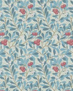 tienda online telas & papel | papel pintado madroños azul grisáceo