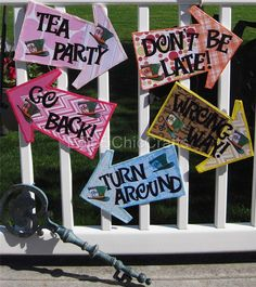 Whimsical and Colorful Arrow Signs (set of 5 on Foam Board) - Don't Be Late, Go Back, Wrong Way, Turn Around, Tea Party - Mad Hatter Theme