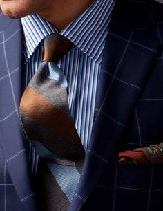 Great tie and contrast/patterns