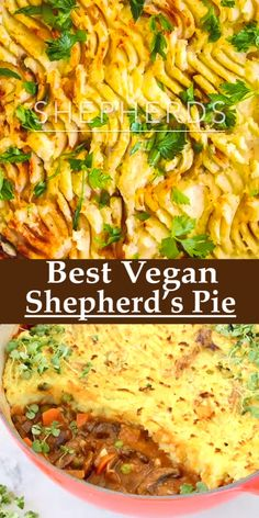 A traditional style Vegan Shepherd's Pie recipe with lots of mushrooms in a silky red wine gravy and olive oil mashed potatoes topping. Simply the Best! dinner recipes vegetarian Best Vegan Shepherd's Pie Tasty Vegetarian Recipes, Healthy Dinner Recipes, Whole Food Recipes, Cooking Recipes, Keto Recipes, Vegetarian Chili, Paleo Food, Cooking Videos, Paleo Meals