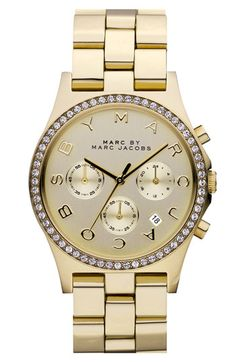 I seriously need this watch!!  MARC BY MARC JACOBS 'Henry' Chronograph  Crystal Topring Watch, 40mm available at #Nordstrom