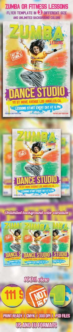 Zumba or Fitness lessons flyer UPDATED UPDATED Zumba or Fitness lessons flyers Zumba flyer, Zumba or Fitness lessons flyer template for dance, fintess, gym studios or trainers in three different paper size and unlimited background color variation.