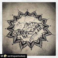 """Little Teton Tattoo Design by Amy Dowell (@iamthepaintedlady). Really great design that is compact not only in size but also in detail. I love how something can look simple at first glance but that you can then lose yourself in the details... The use of sparse diagonal lines to give the hills a """"rolling"""" look or the dense vertical lines on the mountains to add both the appearance of height to the mountains and depth to the design as a whole. I also really enjoy the dotted clouds that appear…"""