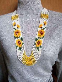 Handcrafted Ukrainian Traditional Beaded Patriotic Necklace Gerdan ...