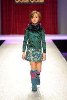 Quis Quis Autumn/Winter 2013-14 at Pitti Bimbo - fur collar, emerald green velvet, brocade